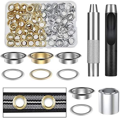 Grommet Werkzeug Kit 14 mm Tülle Ösen Scheiben Ösenzange Set 120 Stück Grommet Einstell Werkzeug und 120 Stück Grommet Ösen mit Aufbewahrungsbox