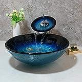 ZHQJY Handbemalte blau gehärtete Glaswaschbecken Waschbecken Waschbecken Wasserhahn Set Badezimmer Arbeitsplatte Waschraumgefäß Vanity Sink Mixer