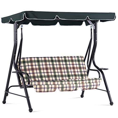 MCombo 3-Person Outdoor Patio Swing Chair,...