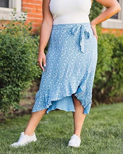 The Drop Women's Blue Floral Ruffled Hem Midi Skirt by @caralynmirand