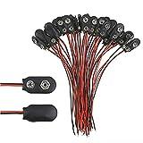 30 paquetes de hebilla de clip de batería de 9 V, carcasa de piel sintética tipo T 1 tipo 15 cm, cable negro y rojo para batería de 9 V y soportes. 1