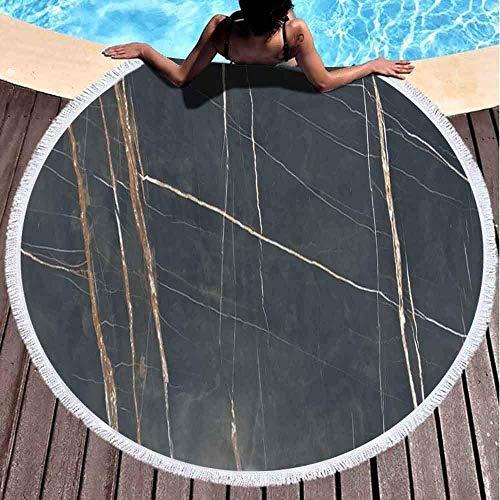 YURONG Toalla de Manta de Playa Redonda, Toallas de Playa para Mujeres, Toalla de Playa para bebé Toalla de Playa de Microfibra de Textura Italiana Natural Premium Noir de 60 x 60 Pulgadas