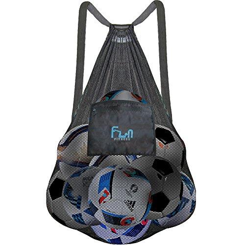 FunFitness NETZBEUTEL – XXXL Schwarz - Rucksack mit Zugverschluss, perfekt für den Strand, Swimmingpool, Spielzeuge, Bälle, u.v.m. - Halten Sie Sand und Wasser fern