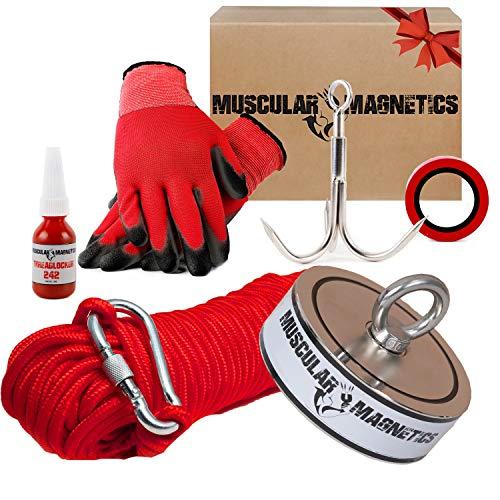 2625lb Double Sided Fishing Magnet Bundle Pack - Includes 8mm 100ft High Strength Nylon Rope with Carabiner, Non-Slip Nylon Gloves, Threadlocker, Grappling Hook & Tape (Complete Kit)