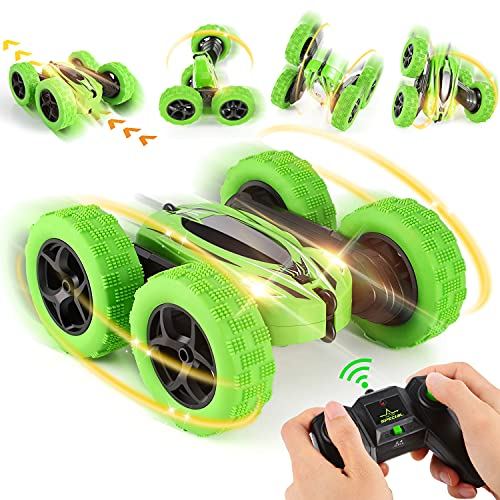 Coche Teledirigido, 4WD Stunt RC Coche Acrobacia Rotación Volteo de 360°, 2.4GHz Coche Radiocontrol Truco con Batería Recargable, Juguetes Niño 6+ Años para Niños Regalos