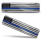 Biomar Labs® 2 x Aufkleber 3D Gel Silikon Stickers USA Amerika Thin Blue Line Police Flag America Dünne Blaue Linie Polizei Flagge Fahne Autoaufkleber F 59