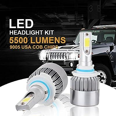 Fanco Electronics LED Headlight Bulbs Conversion Kits with 2 Pcs of Headlamp Bulbs 72W 8000LM Bridgelux COB Chips Fog Light