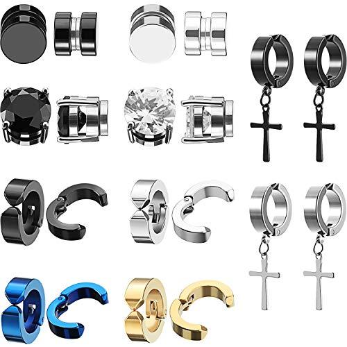 10 Pairs Magnetic Stud Earrings Stainless Steel Magnetic Earrings, Non-Piercing Cross Dangle Hoop Earrings Unisex Gauges Clip on Earring Black CZ Magnet Earring Set (8 mm)