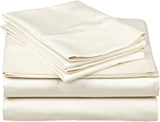Sheet Set 4 PCs- 600 Thread Count - 100% Egyptian Cotton, Long Staple Cotton, Sateen Weave for Soft and Silky Feel, Fits Mattress Upto 17'' Deep Pocket, Ivory Solid, King Size.