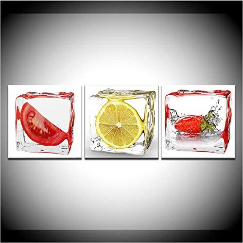 Tomaten citroen aardbei in rijst abstract schilderij moderne modulaire wand poster Scandinavisch canvas schilderij wooncultuur 50x50cmx3 niet ingelijst