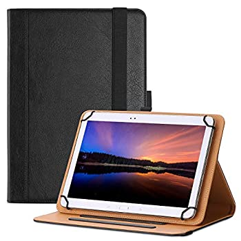 ProCase 9-10.9 inch Universal Tablet Case PU Leather Stand Folio Universal Protective Cover for 9 -10.9  Tablet with Elastic Adjustable Band and Pencil Holder –Black
