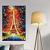 Imprimir en lienzo abstracto colorido romántico ciudad de París Torre Eiffel psicodélico pintura al óleo póster imagen de la pared sala de estar dormitorio sin marco pintura decorativa Z68 30x40cm