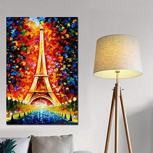 N / A Druck auf Leinwand abstrakte Bunte romantische Pariser Stadt Eiffelturm psychedelische Ölgemälde Poster Wandbild Wohnzimmer Schlafzimmer rahmenlose dekorative Malerei Z68 40x60cm