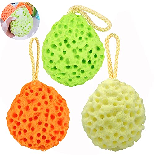 Set di 3 colori Spugne da bagno Spugna fibra naturale da bagno morbida per il corpo a nido d ape Pulisci Spugne e lenitiva per bambini Donna Uomo Cura Bagno quotidiana Forniture