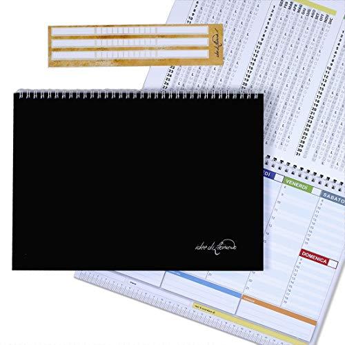CAMPUS - Planner settimanale 30x21 - agenda planner da tavolo perpetua con spirale metallica
