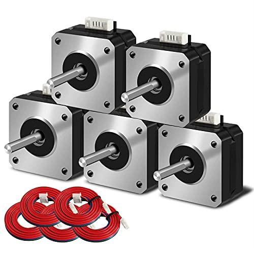 SIMAX3D Nema 17 motore passo-passo 5pcs 42 x 23 mm 1.5 A 2 fasi 4 fili 1.8 gradi con 39 pollici cavo per Creality CR-10 10S Ender 3 stampante 3D/CNC estrusore e asse Y