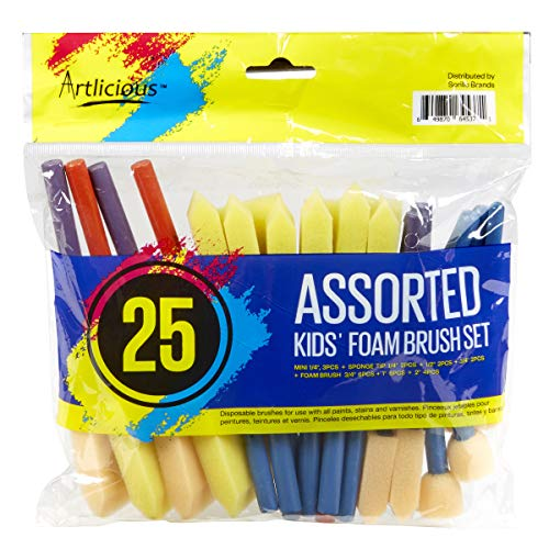 Artlicious - Foam Paint Brush Value Pack (Variety - 25 Pack)