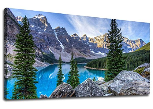 Canvas Wall Art Mountain and Lake Nature Picture Paintings - Long Canvas Artwork Moraine Lake Glacially Fed Lake in Banff National Park Panoramic Contemporary Art for Home Office Wall Decor 20' x 40'