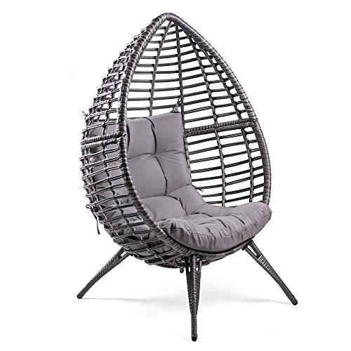 WeCooper Teardrop Wicker Lounge Chair with Cushion, Indoor and Outdoor, Wicker and Rattan, Pod chair,Gray