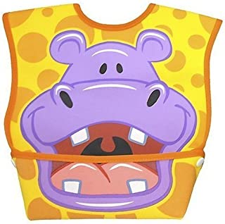 Dexbaby Big Mouth Hippo Leak-Proof Dura Bib w/ Catch-All Pocket - Large | 6 months +