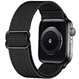GBPOOT Correa de Compatible con Apple Watch 38mm 40mm 42mm 44mm,Correa Loop Deportiva con Nylon de Repuesto Compatible Iwatch Serie 6/SE/5/4/3/2/1,Negro Puro,42/44mm
