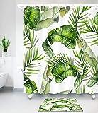Fanmuran cortina de ducha 150*180cm digital PEVA tejido de la Tela de poliéster Impermeable decorativa Cortina de cuarto de baño impresión 3D resistente al moho con ganchos de plástico Resistente...