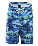 FANHANG Boys Girls UPF 50+ Active Printed Quick Dry Swim and Workout Board Beach Short (Blue(B008), 14-16 Years)