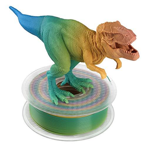AMOLEN PLA Filamento Impresora 3D 1.75mm Rainbow Multicolor 1KG,+/- 0.03mm Materiales de impresión 3D de filamento, incluye Glow in the Dark Verde Muestra Filamento.