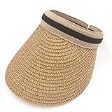 SIMEISM Hermosos sombreros de paja para mujeres mujeres señoras paja visera Cap verano Golf tenis Sunhat ala ancha protección UV al aire libre playa pesca