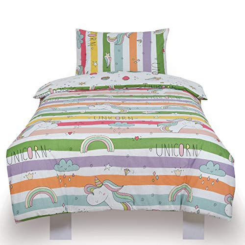 Todd Linens Reversible Single Bedding Duvet Cover Set for Kids with Matching Pillowcase | Vibrantly Coloured Boys and Girls Bedroom Decor (Unicorn Rainbow, Single)