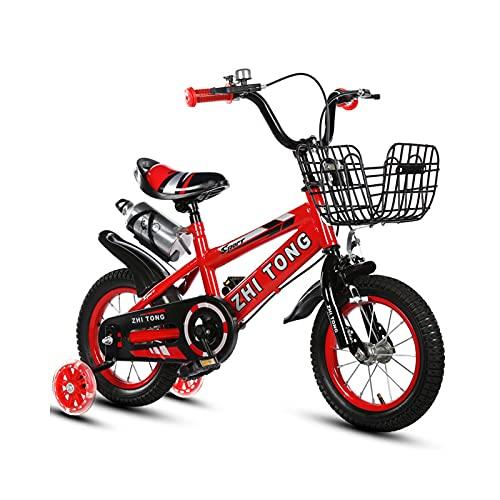 Bicicleta para niños y niñas Freestyle bicicleta 12 14 16 pulgadas con ruedas de entrenamiento, bicicleta infantil (azul, rojo, amarillo)+taza de agua, rojo, 14 pulgadas