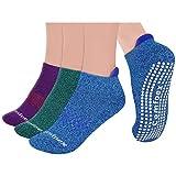 Non Slip Yoga Socks Women 3 Pairs Cushioned Sole Grip Socks