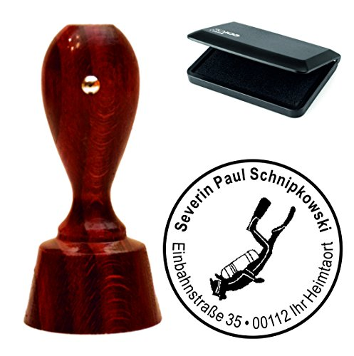 Exclusivo Juego de sellos « Buceo » con su redonda de direcciones caoba farbener sello de direcciones con tampón–Submarinismo sello de buceo