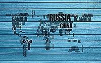 壁の壁画 壁紙 ウォールカバー 青い木の板英語アルファベット世界地図 壁画 壁紙 ベッドルーム リビングルーム ソファ テレビ 背景 壁 壁面装飾のための,430x300cm