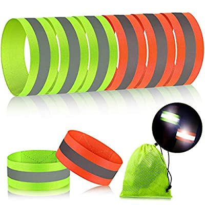 8 Pieces Reflective Bands High Visibility Reflector Bands Reflective Straps Tape Bracelets Reflective Running Gear for Women Men Running Cycling Walking Arm Wrist Ankle Leg (Green, Orange)