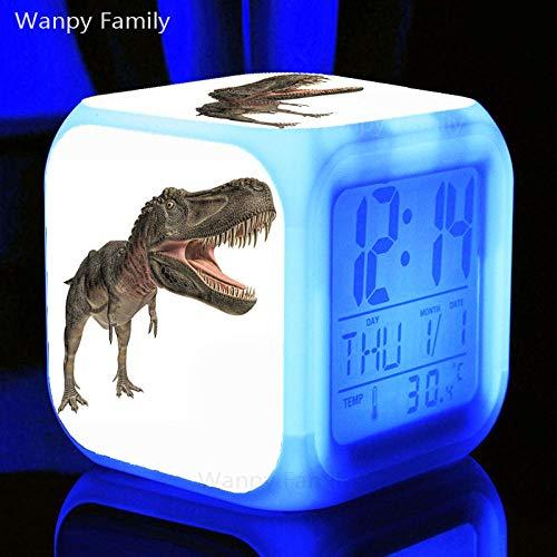 Alarmklocker8B, dinosaurewekker, 7 kleuren, LED digitale wekker, multifunctionele elektronische klok voor kinderkamer paars