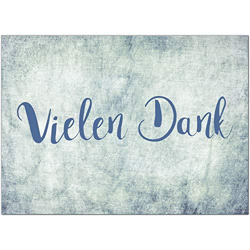 15 x Dankeskarten mit Umschlag - Jeans Look blau - Danksagungskarten, Danke sagen, nach Hochzeit, Geburt, Baby, Taufe, Geburtstag, Kommunion, Konfirmation, Jugendweihe