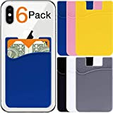 6-Pack Card Holder for Back of Phone Wallet - Stick On Credit Cardholder Cell Phone Case Pocket Sticker - Silicone Adhesive ID Money Sleeve Rubber Pouch