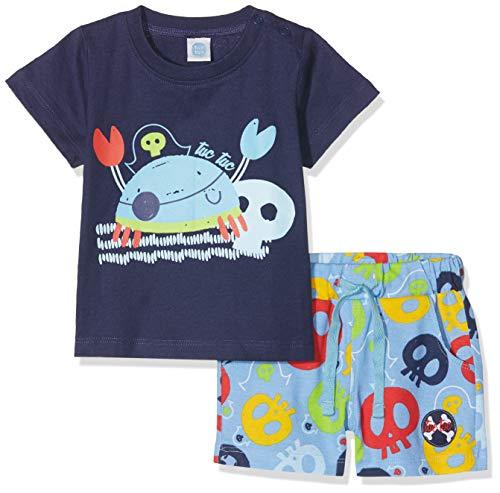 Tuc Tuc Camiseta+Bermuda Estampada Punto NIÑO Pirates Conjunto de Ropa, Azul (Azul 16), 86 (Tamaño del Fabricante:18M) para Bebés