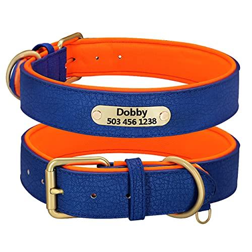 Beirui Collar personalizado de cuero para perro – Collar de perro de cuero multicolor para niñas y perros – Collar suave acolchado para perros pequeños, medianos y grandes (azul, 2XL)