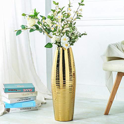 YAOHEHUA Vasen Vintage Deko Vasen Deko Set Große Goldene Bodenvase Wohnzimmer Hotelzubehör Jingdezhen Keramikvase Dekoration