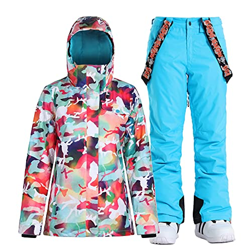 GSOU SNOW Womens Ski Suit Jackets and Pants Snowboarding Warm Winter Snow Coat Hooded Waterproof Windproof Insulated