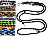 elropet Hundeleine Doppelleine Übungsleine Führleine für mittlere Hunde bis 45 Kg über 39 Farben sehr stabil (2,80 m, Schwarz)