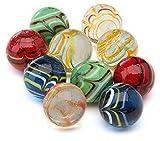 ARSUK Canicas de Cristal, Glasmurmeln, marmoles de Cristal, Vidrio Modelado Colorido Perlas Bolas de Cristal para niños (10pcs Handmade Marbles)