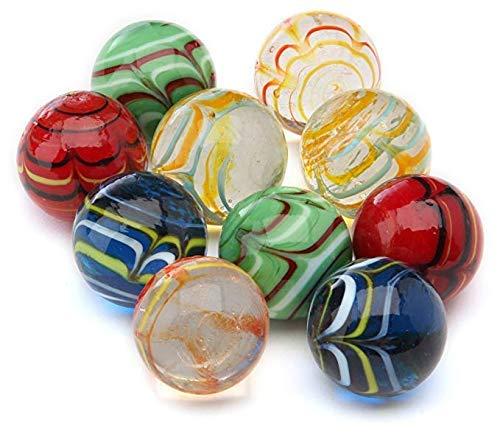 ARSUK Glasmurmeln, Spielzeug, Deko Kugeln Durchsichtig Klare Glasmurmeln, Dekoration Glaskügelchen bunt (10 Stück handgefertigte Murmeln)