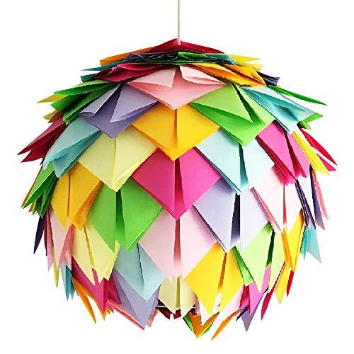 Crazy Harlekin, Ø 35cm, Papierlampe Hängelampe Lampe Lampenschirm Pendellampe Designerlampe Deckenlampe Leuchte bunt neon Origami AUS PAPIER + Lampenfassung E27 für LED Glühbirne