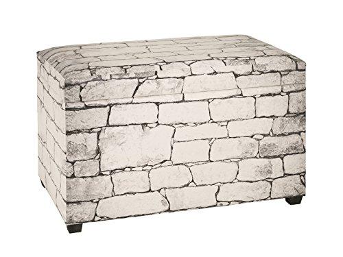 Haku Sitztruhe in Steinmauer Motiv; Kunstleder weiß-grau bezogen;Maße (B/T/H) in cm: 65x40x42