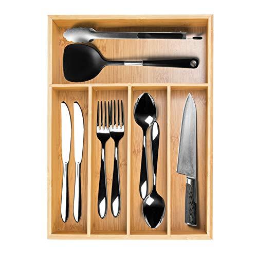Bamboo Silverware Utensil Drawer Organizer, Flatware Cutlery Drawer Organizer Silverware Tray for Kitchen Spoons Forks Knives (Natural-1)