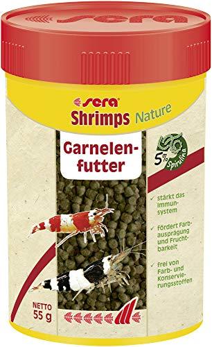 sera shrimps Nature 100 ml das Granulat mit u.a. Spirunlina und Erlenzapfen für Garnelen im Süß- & Meerwasser Aquarium - Garnelenfutter
