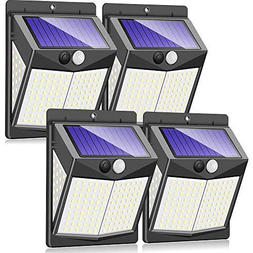 Luces solares al aire libre 3 cabezas, 70 d Sensor de movimiento solar Luz de seguridad con 360DEG;Anch Lighting Ang, Fácil de instalar, IP65 Afile a prueba de agua Durab Solar Powered Lights para fue